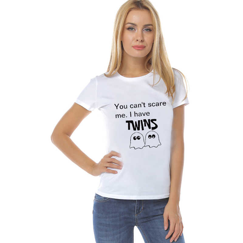 LUS LOS U Kan niet Schrikken Me IK Hebben Twins Grappige Vrouwen Halloween T-shirt Zomer Korte Mouw Harajuku Overhemd wit Casual Super Zacht