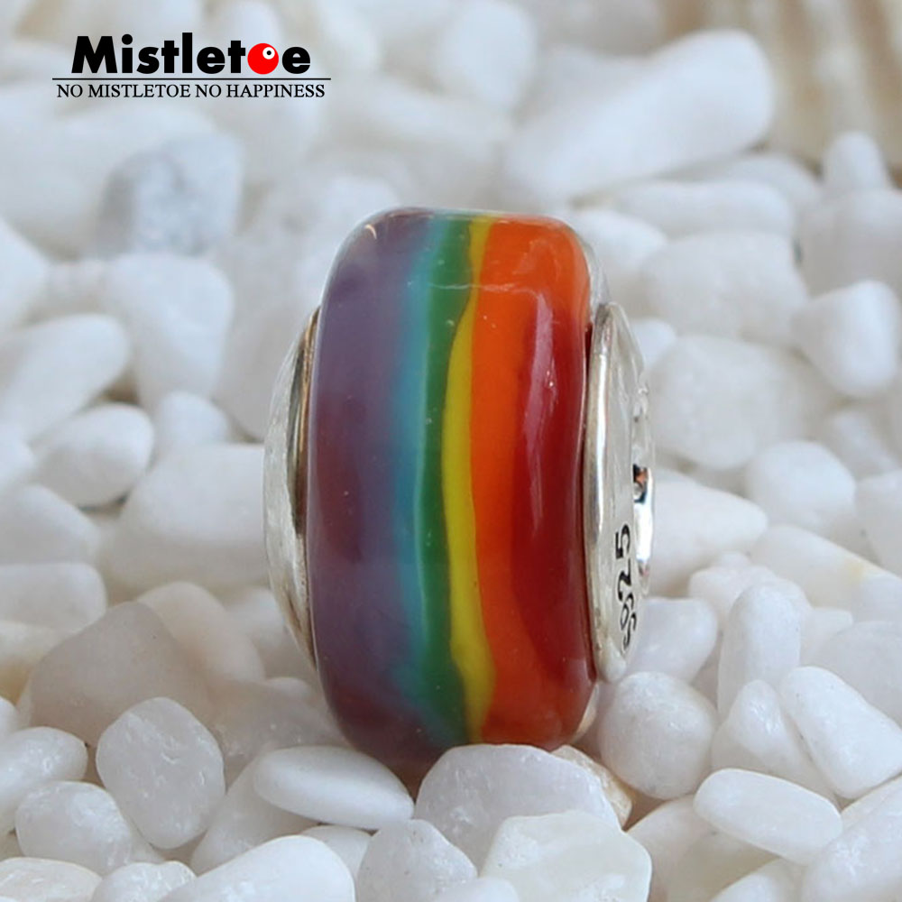 Mistletoe 925 Sterling Silver Murano Glass Rainbow Charm Bead Fit European OHM Troll & Pan Bracelet Jewelery стоимость