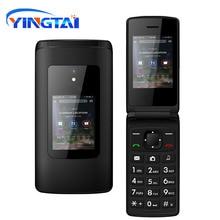 Nouveau pas cher double écran rabat téléphone Senior double carte SIM bouton poussoir clavier téléphone FM Radio caractéristique à clapet téléphone portable T30 GSM