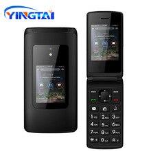 Nowy tanie podwójny ekran odwróć telefon dla seniora podwójna karta sim przycisk klawiatury telefon FM Radio funkcja Clamshell telefon komórkowy T30 GSM