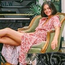 NLW 2019 Casual Vintage Pink Print Midi Dress Women Summer NEW Wrap Sashes High Waist Dress Female V Neck Dress Vestidos