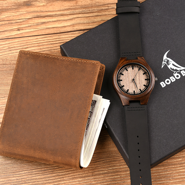 reloj hombre BOBOBIRD Customized Wood Watch and Wallet Engrave Message Awesome Gifts