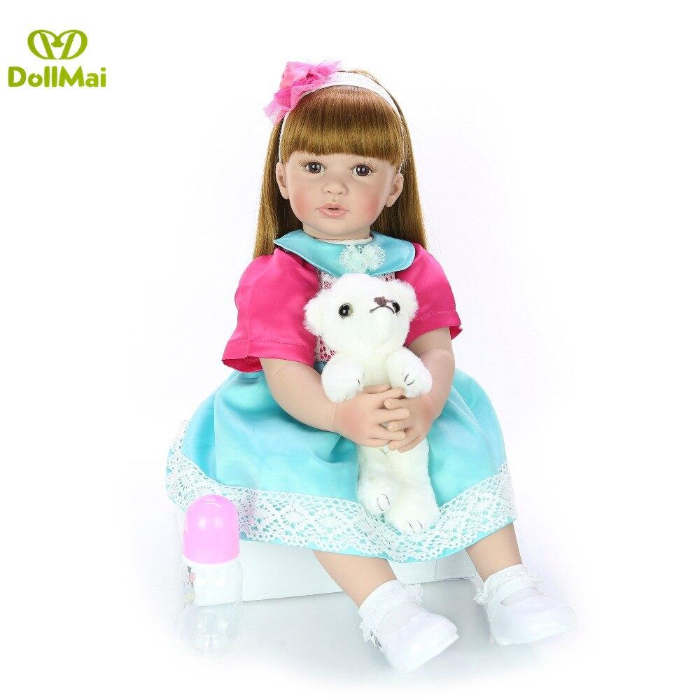 DollMai 60 CM bebe reborn bébé poupée fait à la main adorable Silicone reborn bambin Bonecas fille enfant silicone poupée lol cadeau