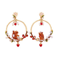 Luxury statement asymmetry squirrel hoop earrings romantic enamel animal flower bead gem pendant earring for women jewelry