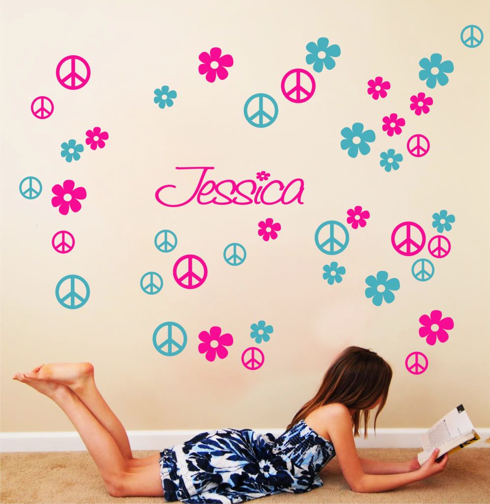 Aliexpress Com 2 Color Peace Love Signs Hearts Vinyl Wall Decor Mural Decal Sticker Art Embellish Home Decorative Stickers 2pcs 22x13inch From