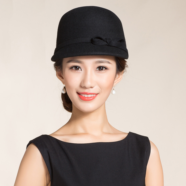 HIgh End Autralian Wool Equestrian Cap Hat For Women Black Short Brim Bowler Woolen Felt Fedora Warm England Women Wnter Hat