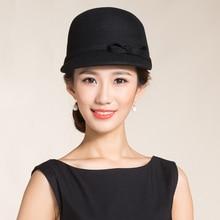 943db449b86 HIgh End Autralian Wool Equestrian Cap Hat For Women Black Short Brim  Bowler Woolen Felt Fedora