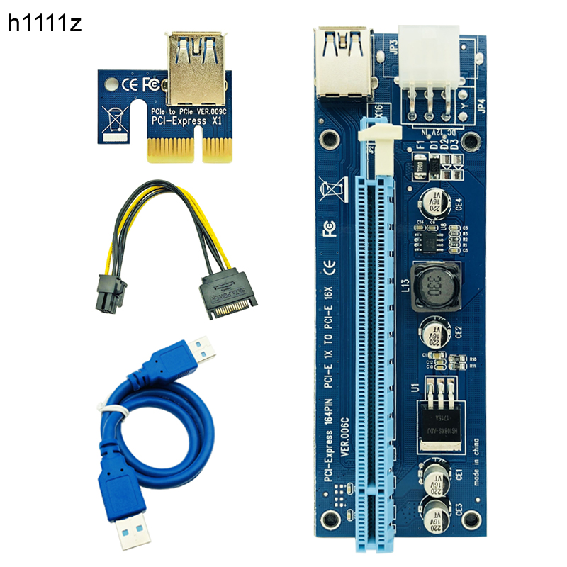 10pcs VER006C Molex 6Pin PCIE PCI-E PCI Express Riser Card 1X to 16X Extender Adapter USB 3.0 Cable For BTC Mining Bitcoin Miner