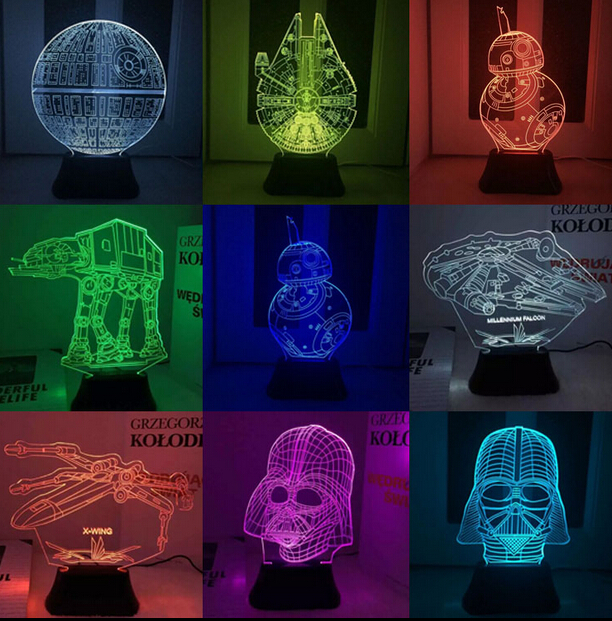 Hot ! NEW 7color changing 3D Bulbing Light BB8 BB-8 Yoda visual illusion LED lamp action figure toy Christmas gift  star wars bb8 droid 3d bulbing light toys new 7 color changing visual illusion led decor lamp darth vader millennium falcon toy