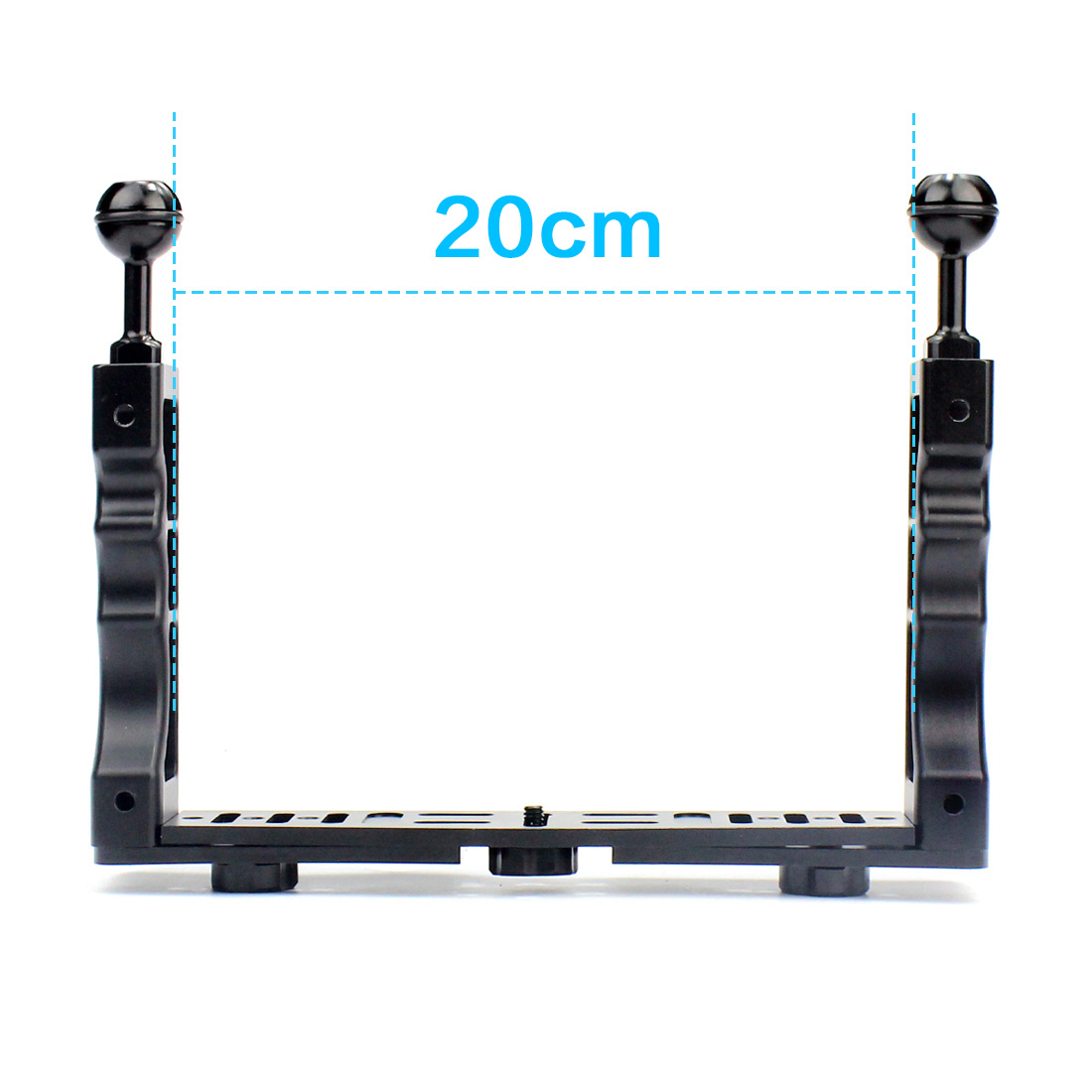 CNC Aluminum Alloy Waterproof Shell Tray Housing Arm/ Tripod Mount Adapter For Gopro Action Camera Holder Double Grip Dive Parts