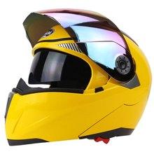 Full Face Motorcycle Helmet Racing Full Face Helmet Motorcycle Helmet Run Cyclo-Cross With Colorful Lens Yellow