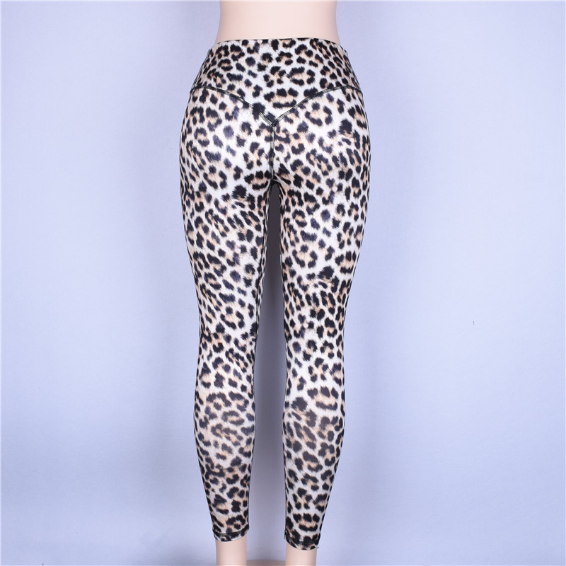 Hugcitar high waist leopard Sexy Push Up Leggings 2018 summer women Workout Polyester fitness trousers Activewear Slim casual pa 37