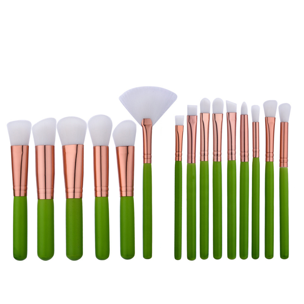 16Pcs Makeup Brushes Green Handle Rose Tube White Hair Cosmetic Powder Foundation Make Up Eye Shadow Brush Set msq fashion 15pcs makeup brushes set powder foundation eye make up brush white handle cosmetic beauty tool pu leather case