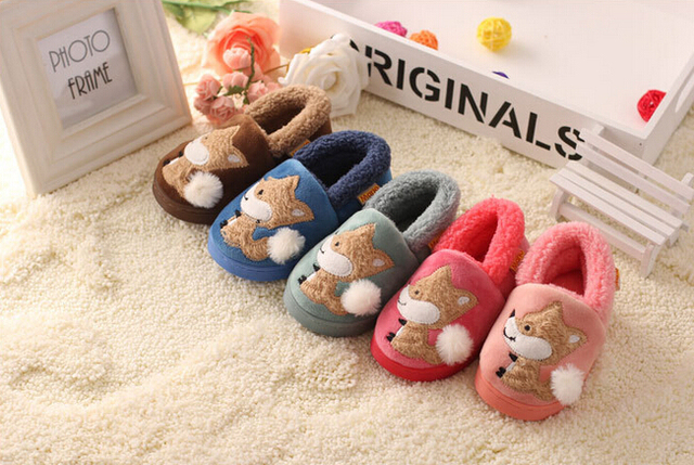Winter Keep Warm Waterproof Thickened Kid Homemade Cotton Slippers,Cute Fox Snow Pattern Plus Velvet Plush Slippers For Children