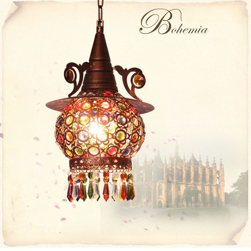 Bohemian Retro Bronze Metal Led Pendant Chandeliers Lustre Crystal Corridor Led Chandelier Lighting Led Hanging Lights Fixtures modern lustre crystal led chandelier lighting chrome metal living room led pendant chandeliers light led hanging lights fixtures