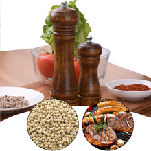 Фотография Salt And Pepper Grinder Hand Movement Oak Wood Pepper Mill With Ceramic Grinding Cord Kitchen cooking tools 5/8 inch