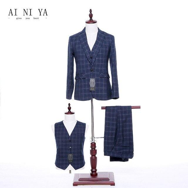 Chaqueta + Pantalones + Vest mujeres negocios Trajes azul oscuro Plaid lana  mezclada 2018 Oficina uniforme 37c5c3ec1bd7