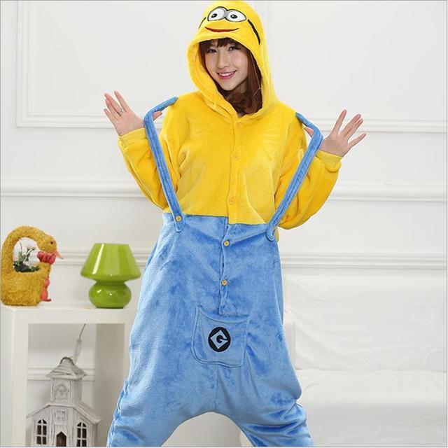 Winter Sleepwear All in One Flannel Anime Pajama Set Cartoon Despicable Me  Minion Dave Adult women Warm Homewear Animal Pajamas af9d6b2a4