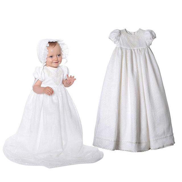 Yatheen Baby Girl Newborn-9m Lace Embroidered Christening Dress Baby Dresses