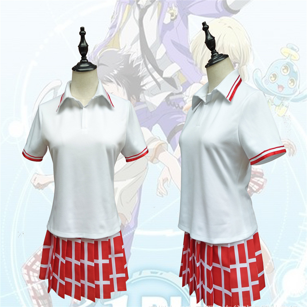 eldlive Cosplay Japan Anime Costumes Women men Costumes Summer Couple Set Anime Daily Wear Women's pleated skirt Cosplay