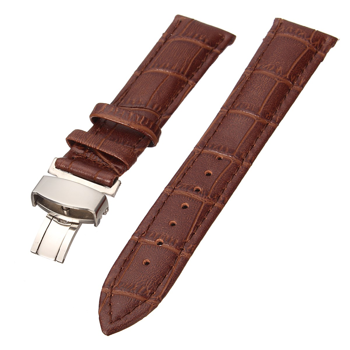 Genuine Leather Watchband Wrist Strap Croco Bracelet With Butterfly Buckle For Watch Accessories 18/22mm Hot 3Color 2017 the golden butterfly leather leather watchband leisurely bracelet watch with 20mm common men and women
