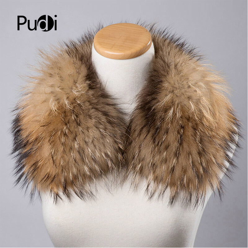 SF604 Genuine Winter Women Raccoon Fur   Scarf     Scarves     Wrap   Neck Warmer Shawl Stole natural fur collar