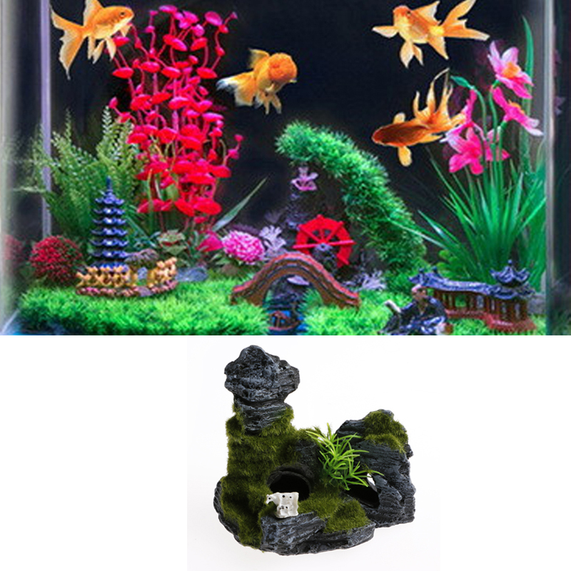 1PC Resin Fish Tank Shelter Aquarium Stone Is Land Aquarium Decorations Aquarium Akvaryum House World Of Tanks in Decorations from Home Garden