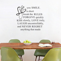 Motto Life is short Vinyl Wall Decal Removable Art Sticker Wall Paper Decor Vinyl Stickers Room Decoration