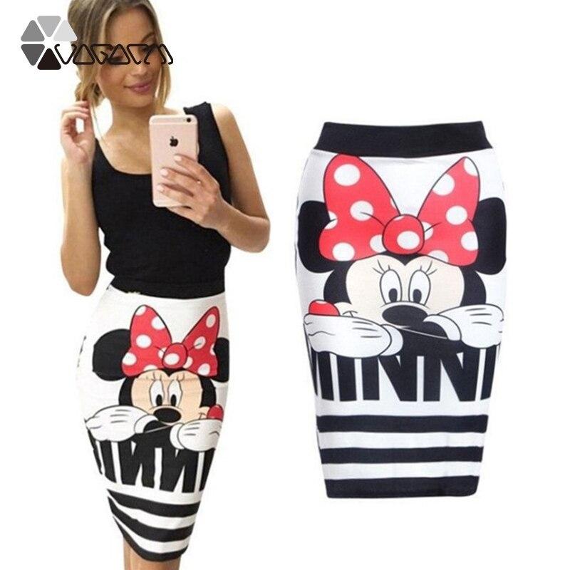 Women Sexy Summer Skirts Minnie Mickey Cartoon Slim Midi Skirts High Waist Package Hip Plus Size Club Streetwear Skirt