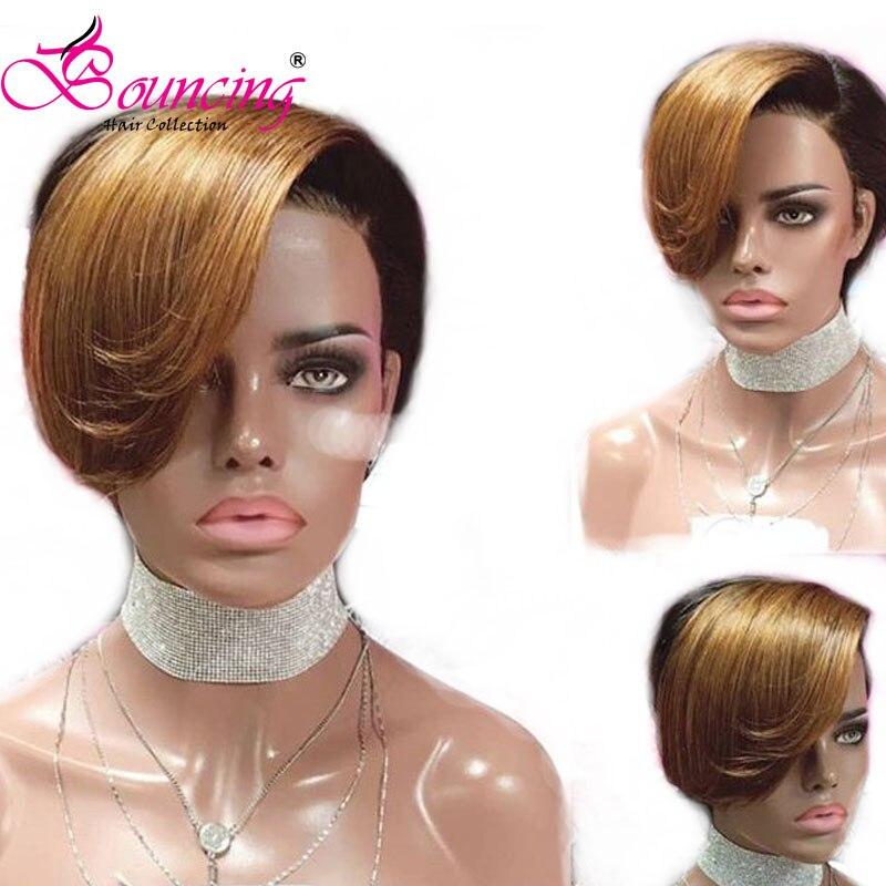 Bouncing Hair Short Pixie Cut Wigs Brazilian Human Hair Lace Front Human Hair Wigs 1B & Highlight #27 Hair Wigs For Black Women