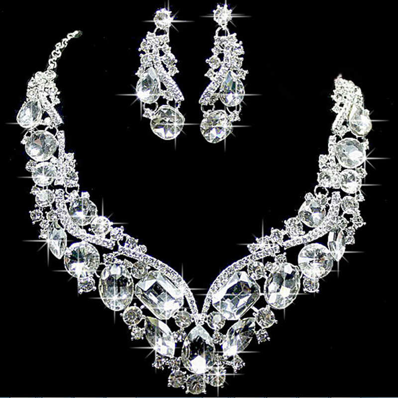Women Luxury Wedding Prom Bridal Jewelry Sets African Beads Rhinestone Wedding Necklace Earrings Bracelet Sets Accessories