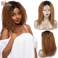 Ombre Blonde Lace Front Human Hair Wigs for Black Women 1B 30 Peruvian Afro Kinky Curly Human Hair Wigs Nonremy Lace Closure Wig