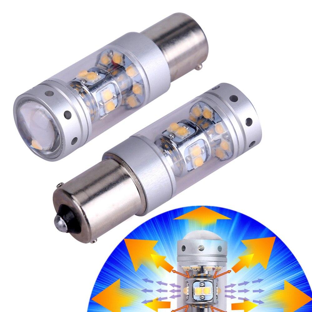 2X 7507 1156PY BAU15S Xenon White LED Bulbs Fog Light  12V 1200 Lumens Turn Signals Backup Tail Light LED Bulbs with Projector