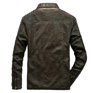 Image 3 - High Quality Faux Leather Jacket Men Vintage Autumn Winter New Motorcycle Jacket Men Business Casual Mens Biker Jacket Coat