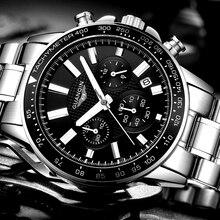 Relogio Masculino GUANQIN 2018 nouveau hommes montres haut de gamme en acier inoxydable de luxe montre à Quartz hommes Sport étanche montres
