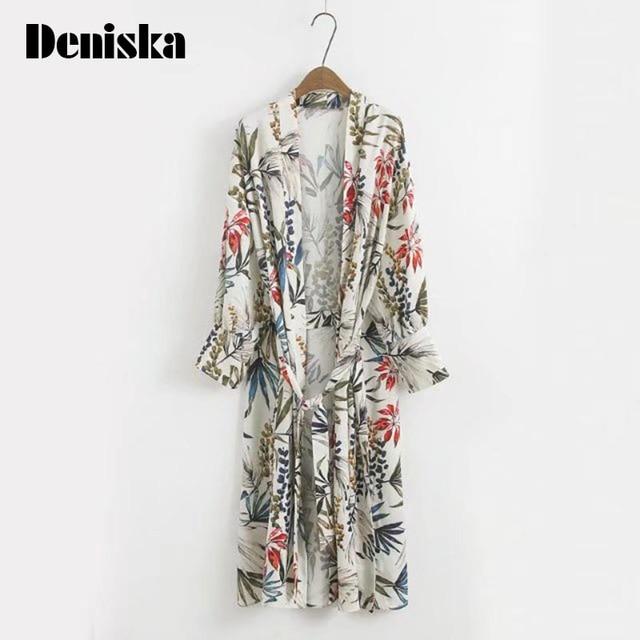 281fbefcd DENISKA Print Side Slit Ladies Kimono Cardigan Elegant Long Sleeve Loose  Women Floral Kimono Summer Casual Woman Fashion Kimonos