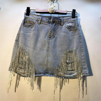 Denim Skirts Women Summer 2019 New Fashion Rhinestone Drilled High Waist Hole Jean Skirt Mini Skirt Femme r1106