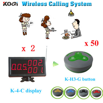2 pcs led display screen + 50 pcs table call button transmitter call service call center Restaurant customer callling system