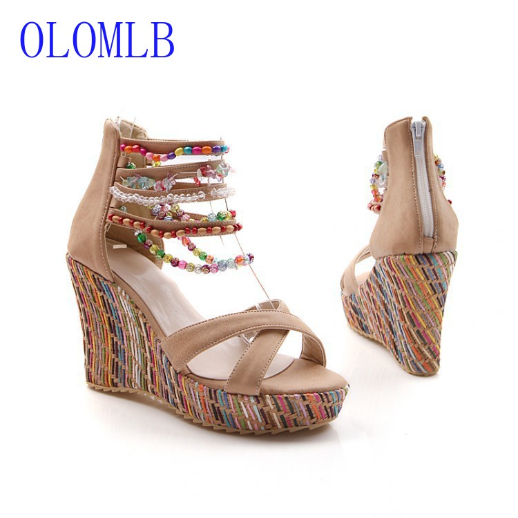 OLOMLB Women's Sandals Fish-Mouth Platform Casual Shoes Open-Toes High-Heel Fashion Summer