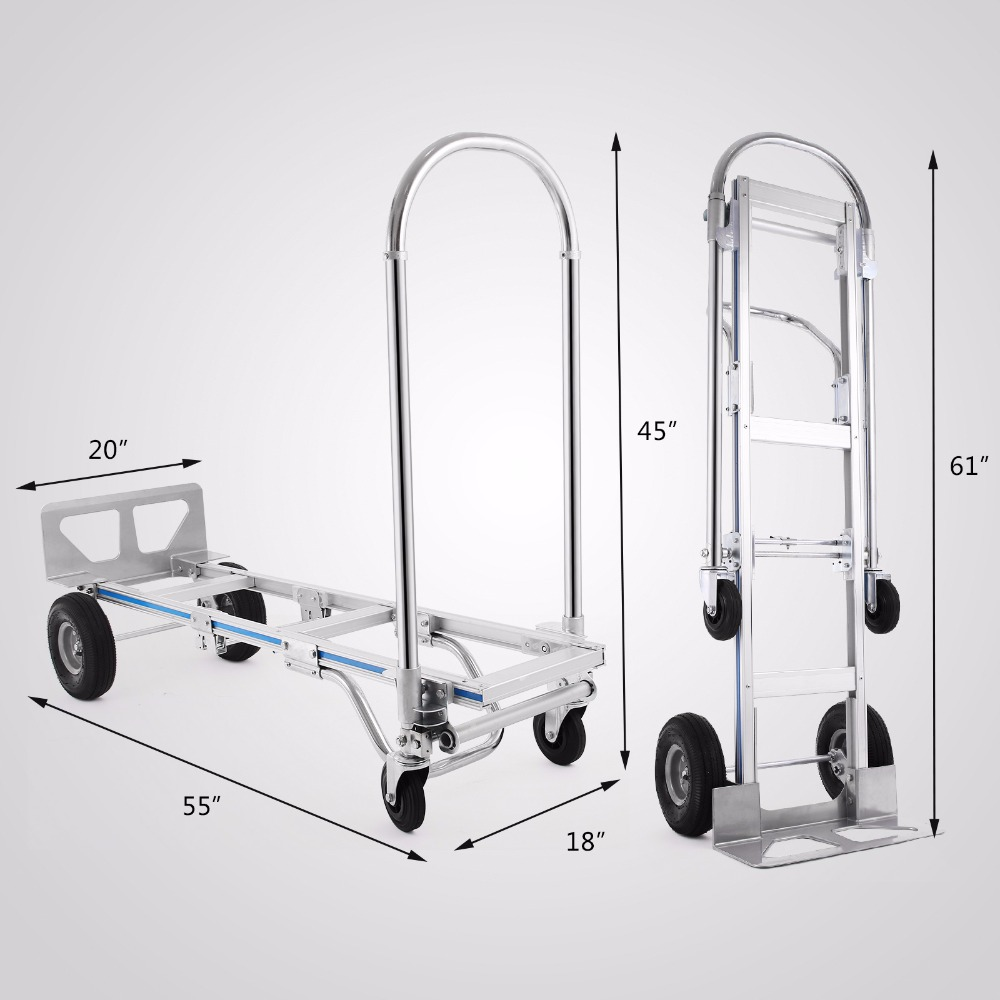 VEVOR Hand Truck 2 In 1 Aluminum Hand Truck 770LBS 61Inch Height Convertible Hand Truck Foldable With 2 Wheel Dolly And 4 Wheel