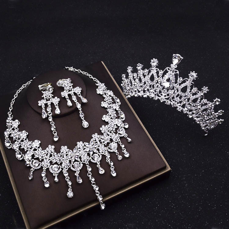Luxury Tassels Rhinestone Bridal Jewelry Sets Silver Crystal Crown Tiaras Statement Necklace Earrings Set Wedding Accessories