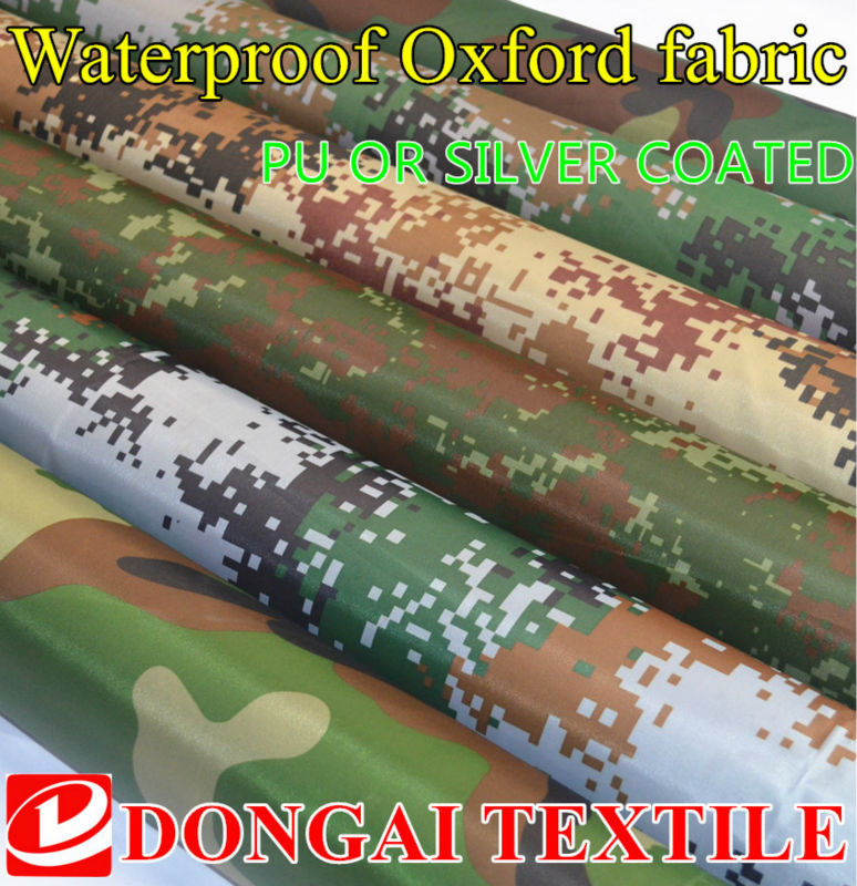 size 1*1.5 meter width  camouflage Oxford fabric printed silver or PU waterproof cloth outdoor tents,Car cover fabric  sunshade
