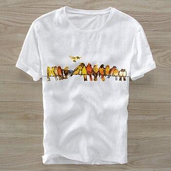 543df8af90 2018 hombres de lino de manga corta Camiseta cuello redondo impreso tela de lino  camiseta suelta hombres sólido camiseta transpirable hombres M-3XL camisa