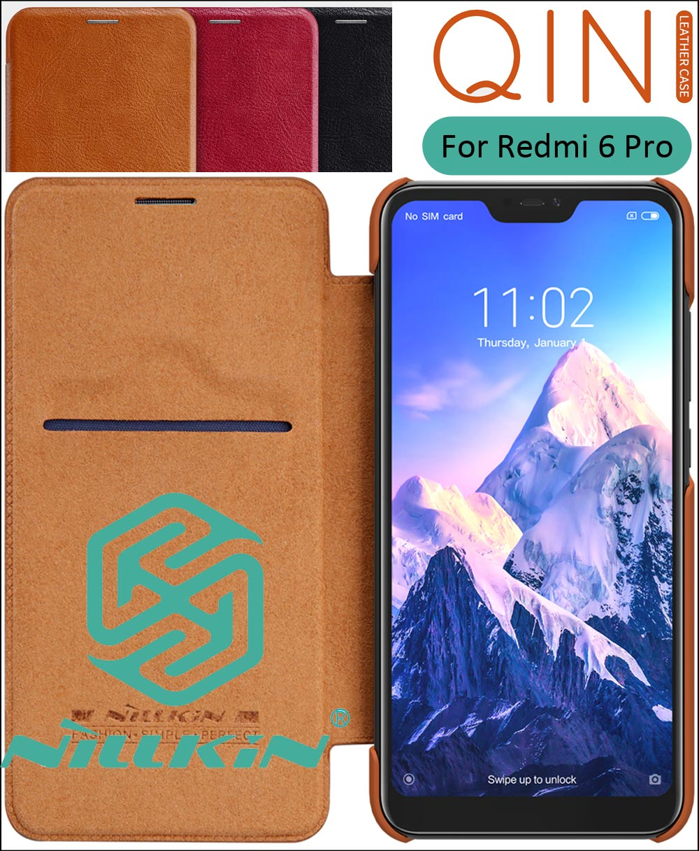 Nillkin Qin Flip Leather Case Cover For Xiaomi Redmi 6 Pro Mi A2 Lite 5.84 inch