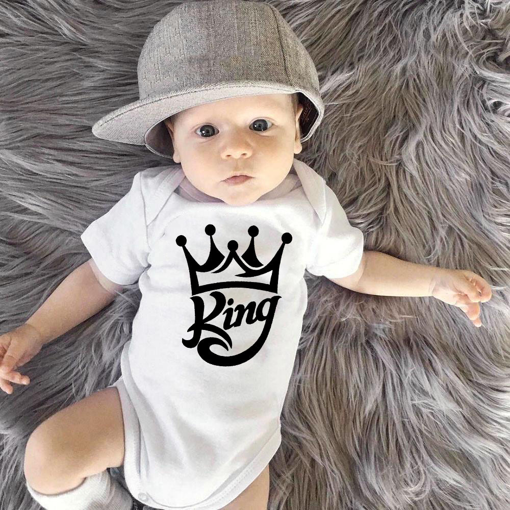 2020 Summer King Crown Print Baby Short Sleeves Bodysuit Boys Clothing White Newborn Baby Playsuits Bodysuits Clothes 0-24 M