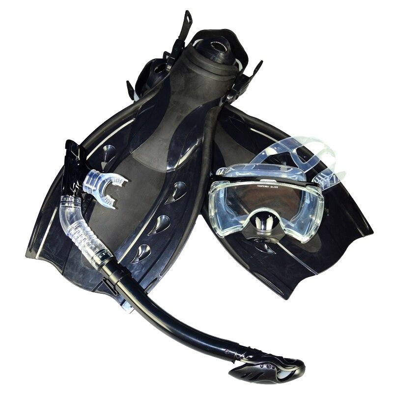 Бесплатная доставка Высокое качество оборудование погружения черный двойной линзы Дайвинг маска + сухой трубка + утка ласты MSF2723201