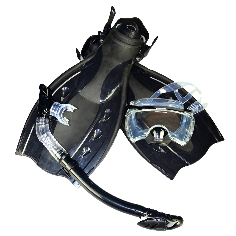 Free shipping High quality dive equipment black double lens Diving Mask+dry  Snorkel +Duck Flippers MSF2723201