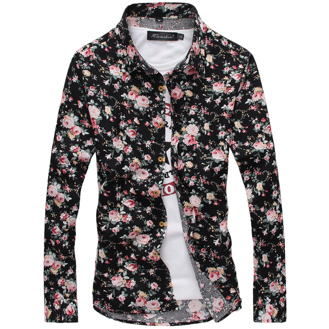 Shirt design gents - 3xl Turn Down Collar Casual Slim Shirts Mens Long Sleeve Floral Printed Wedding Party Shirt