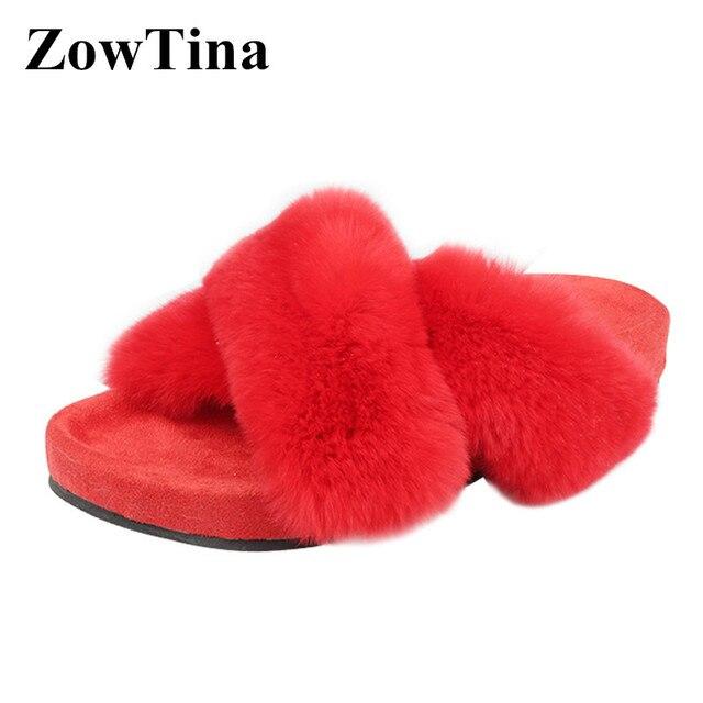 b0c38d496fe5 Rex Rabbit Fur Women Flats Slippers Fashion Fuzzy Design Platform Slides  Shoes Woman Cute Furry Summer
