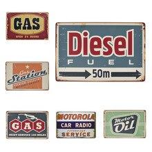 Motor Oil Plaque Vintage Metal Tin Signs Diesel Gas Station Decorative Iron Plates Wall Sticker Art Poster Home Bar Pub 20x30cm